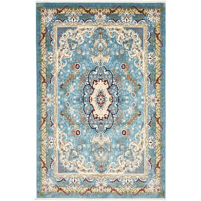 Courtright Blue/Tan Area Rug Rug Size: Rectangle 5 x 8