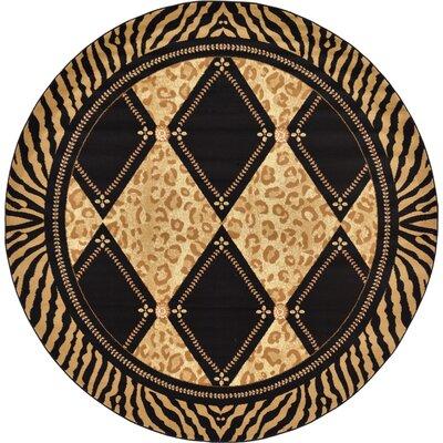 Jaina Light Brown Geometric Area Rug Rug Size: Round 8