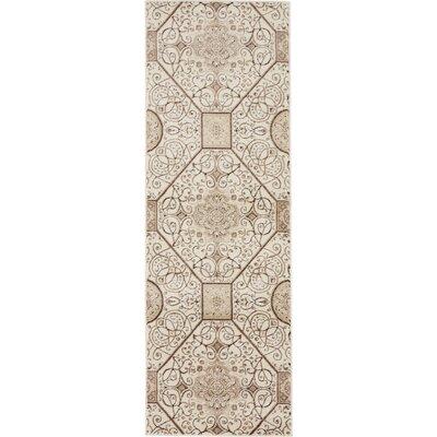 Mathieu Cream/Brown Area Rug Rug Size: 2 x 6