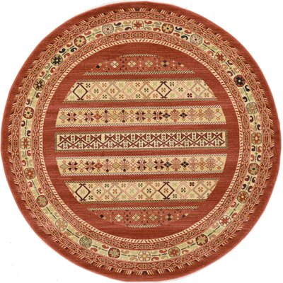 Foret Noire Rust Red Area Rug Rug Size: Round 6