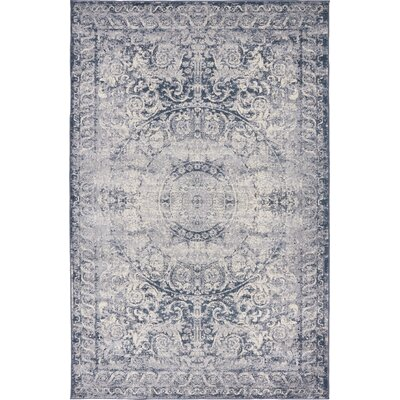 Abbeville Stone Blue Area Rug Rug Size: 4 x 6