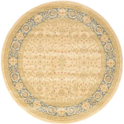 Jamar Traditional Cream Area Rug Rug Size: Round 6