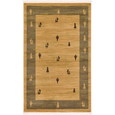Jan Traditional Tan Area Rug Rug Size: Rectangle 3'3