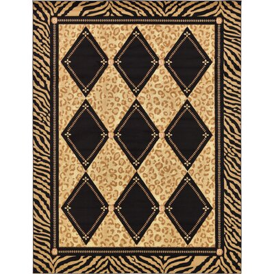 Jaina Light Brown Geometric Area Rug Rug Size: 9 x 12