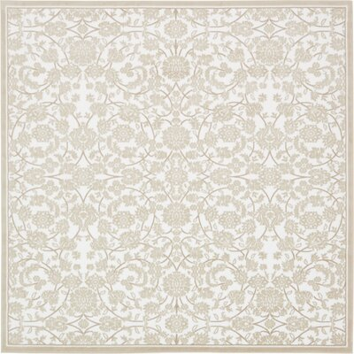 Matis Snow White/Beige Area Rug Rug Size: Square 8