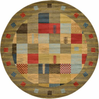 Jan Light Brown Geometric Area Rug Rug Size: Round 8 x 8