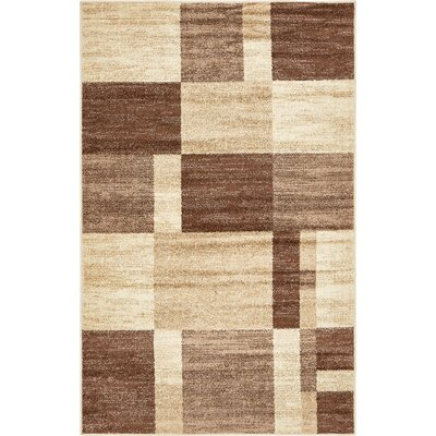 Bryan Light Brown Geometric Area Rug Rug Size: 5 x 8