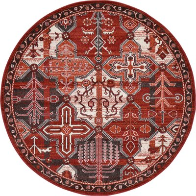 Irma Terracotta Area Rug Rug Size: Round 6