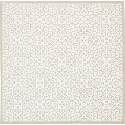 Mathieu Snow White/Beige Area Rug Rug Size: Square 8