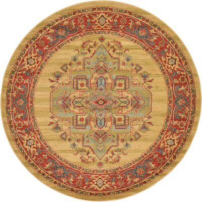 Zoey Light Brown Area Rug Rug Size: Round 6