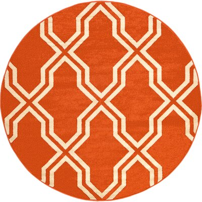 Marika Rust Red Area Rug Rug Size: Round 6'