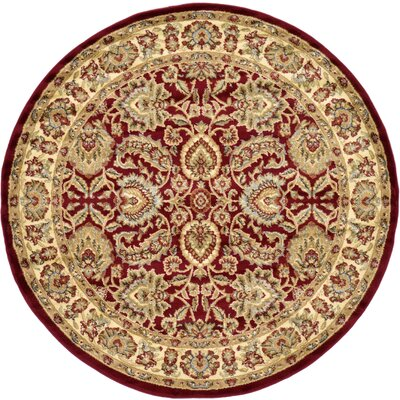 Fairmount Red Area Rug Rug Size: Round 6