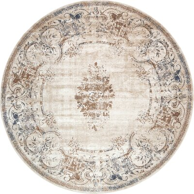 Abbeville Blue/Cream Area Rug Rug Size: 8 x 8