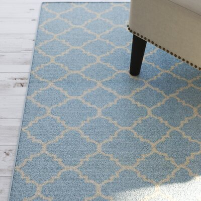 Danbury Hand-Woven Wool Light Blue/Ivory Area Rug Rug Size: Rectangle 8 x 10