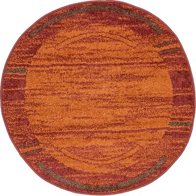 Bryan Stain-resistant Terracotta Tibetan Area Rug Rug Size: Round 33