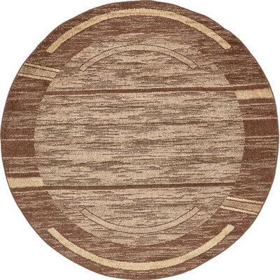 Bryan Stain-resistant Brown Area Rug Rug Size: Round 8