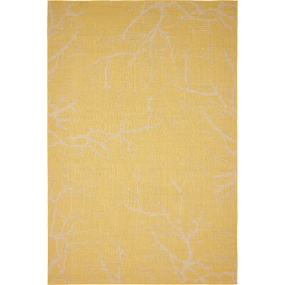 Fauna Yellow Outdoor Area Rug Rug Size: 6 x 9