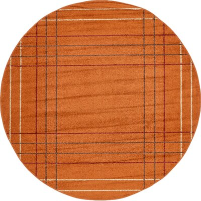 Christie Terracotta Area Rug Rug Size: Round 8
