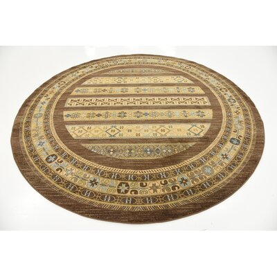 Foret Noire Brown Area Rug Rug Size: Round 8