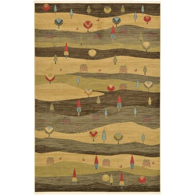 Jan Tan Abstract Area Rug Rug Size: Rectangle 6 x 9