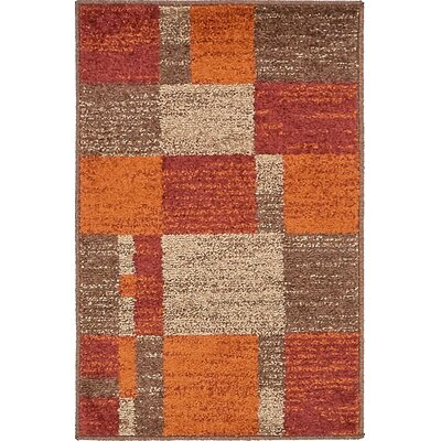 Bryan Burgundy/Orange Area Rug Rug Size: 2 x 3