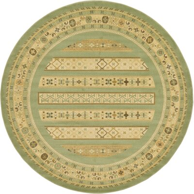 Foret Noire Light Green Area Rug Rug Size: Round 8