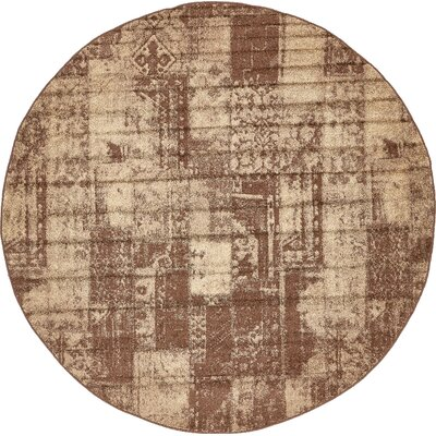 Lilla Brown Area Rug Rug Size: Round 8