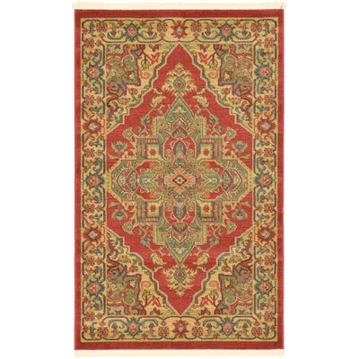 Zoey Red Area Rug Rug Size: 33 x 53