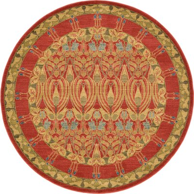 Fonciere Red Area Rug Rug Size: Round 6'