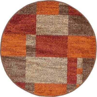 Christie Red/Orange Area Rug Rug Size: Round 33