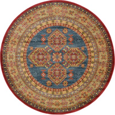 Zoey Red Area Rug Rug Size: Round 6
