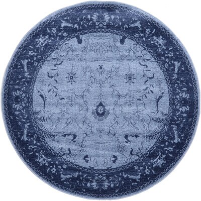 Attleborough Blue Area Rug Rug Size: Round 6