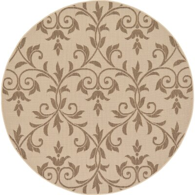 Kulshan Beige/Brown Outdoor Area Rug Rug Size: Round 6