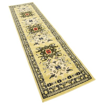 Lerma Cream/Green Area Rug Rug Size: Runner 27 x 10