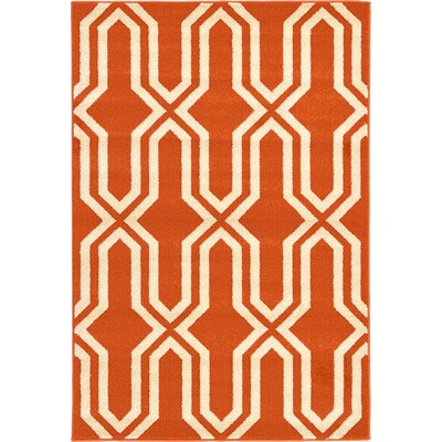 Marika Rust Red Area Rug Rug Size: 4' x 6'
