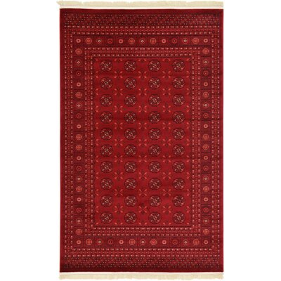 Kowloon Dark Red Area Rug Rug Size: 5 x 8