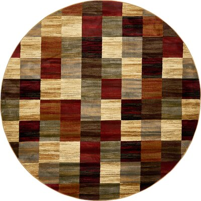 Jaidan Brown/Beige Geometric Area Rug Rug Size: Round 8