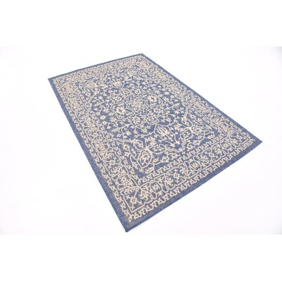 Apple Crest Blue Outdoor Area Rug Rug Size: Rectangle 7 x 10