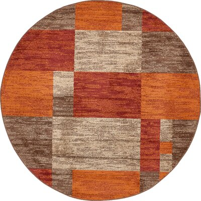 Bryan Burgundy/Orange Area Rug Rug Size: Round 8