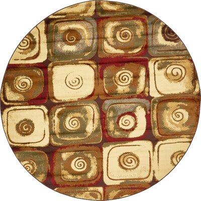 Jaidan Traditional Beige Geometric Area Rug Rug Size: Round 8'