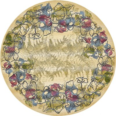 Ronda Pink/Green Indoor/Outdoor Area Rug Rug Size: Round 8
