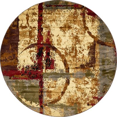 Jaidan Brown/Beige Abstract Area Rug Rug Size: Round 8