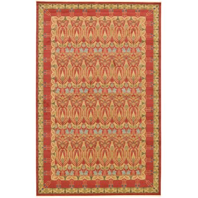 Fonciere Red Area Rug Rug Size: Round 8