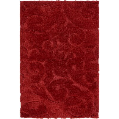 Baynes Floral Red Area Rug Rug Size: Rectangle 8 x 10