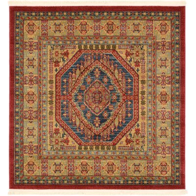 Zoey Red Area Rug Rug Size: Square 4