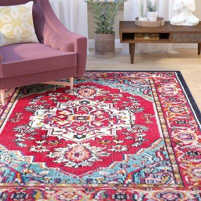 Chana Red Area Rug Rug Size: Rectangle 6'7