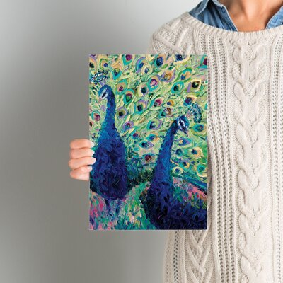 Gemini Peacock Painting Print on Wrapped Canvas Size: 12