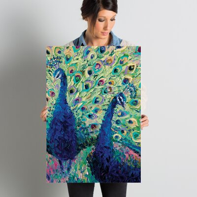 Gemini Peacock Painting Print on Wrapped Canvas Size: 26