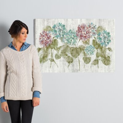 Vibrant Row of Hydrangea Painting Print on Wrapped Canvas Size: 32