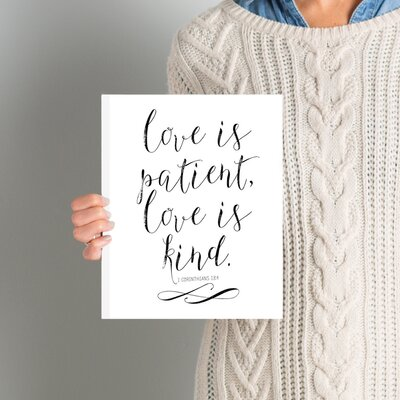Love is Patient Love is Kind Textual Art on Wrapped Canvas in Chalkboard Size: 10